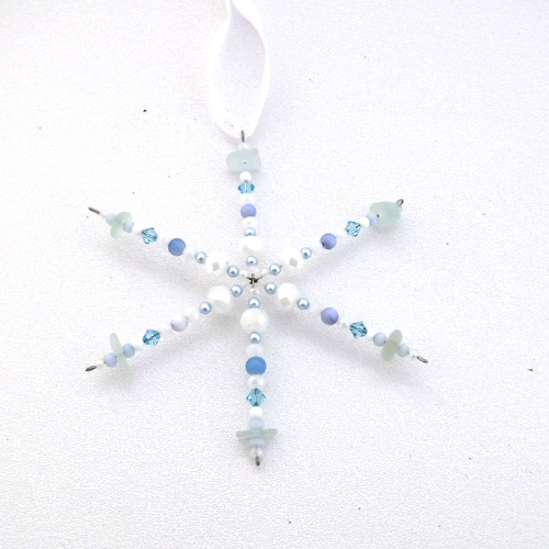 new light blue sea glass snowflake 1