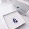 cobalt blue sea glass necklace with lighthouse 7