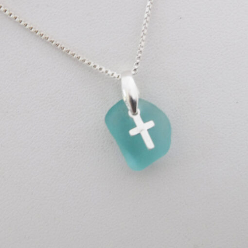 turquoise sea glass necklace with cross 3